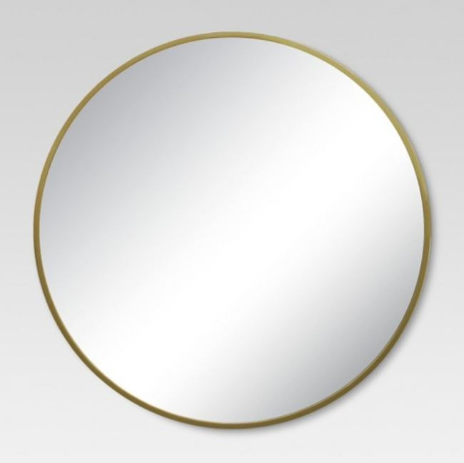 simple gold round mirror