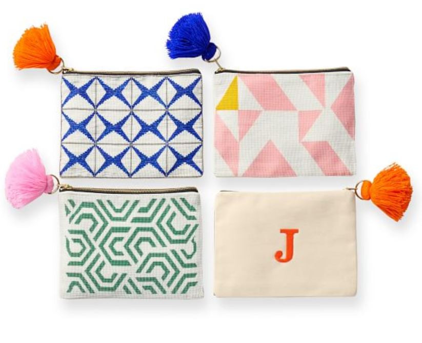 modern monogram clutches by Mark and Graham bright, graphic and colorful