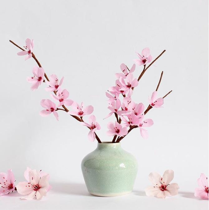 Paper flowers Paper cherry blossom stems