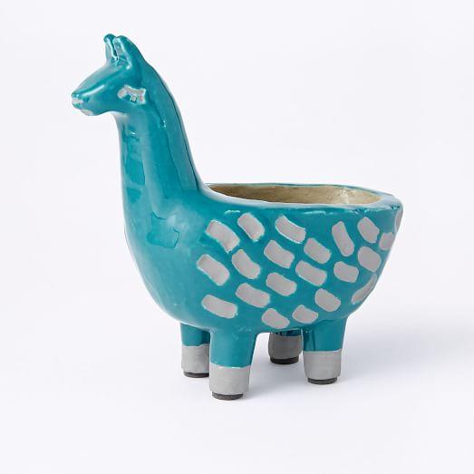 llama ceramic planter