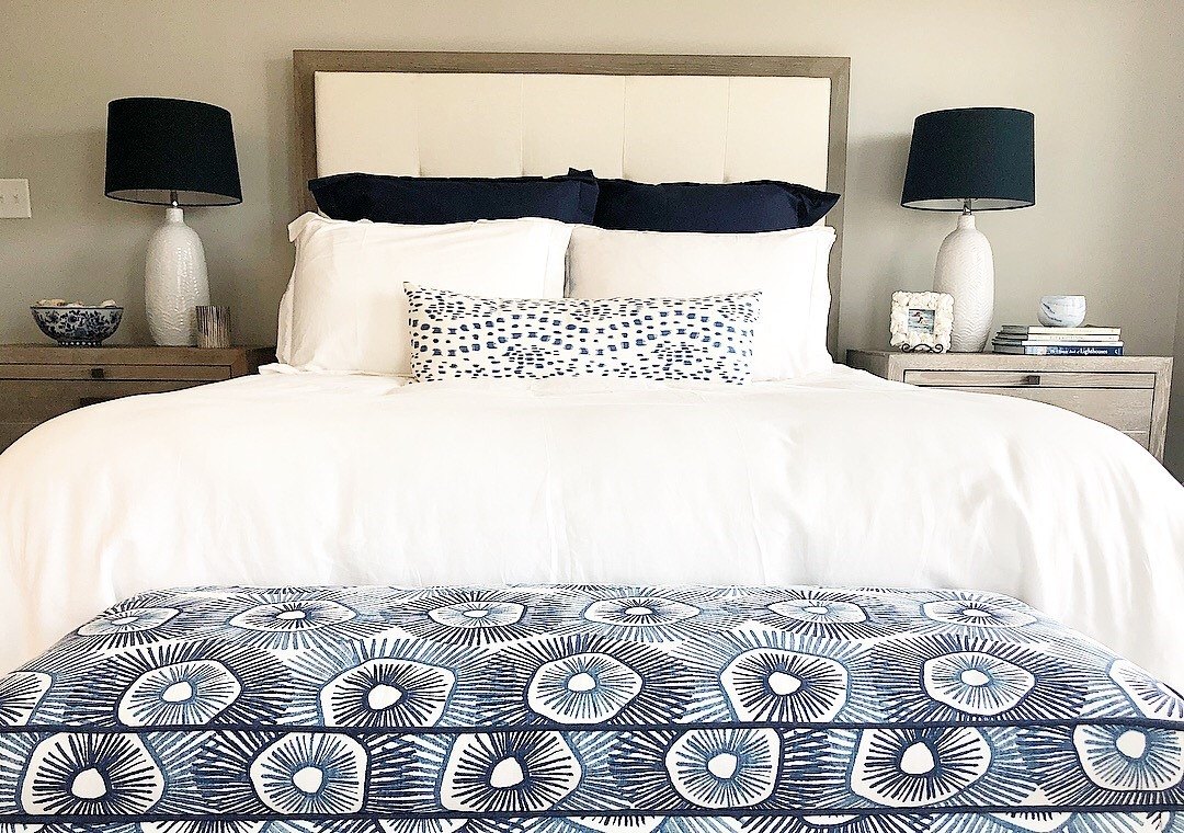 Modern Navy and White Beach Bedroom