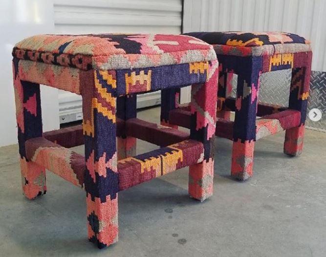 vintage kilim covered stools