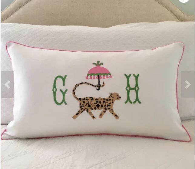 Modern Monogrammed pillow chinoiserie and leopard