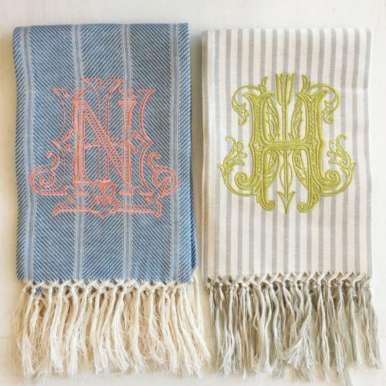 Number Four Elen Modern Monogrammed hand towels