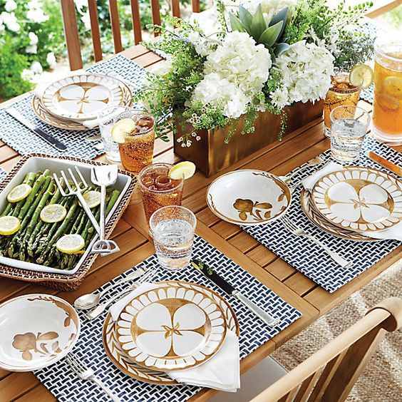 beautiful outdoor tablescape with melamine plates Bunny Williams for Ballard Designs