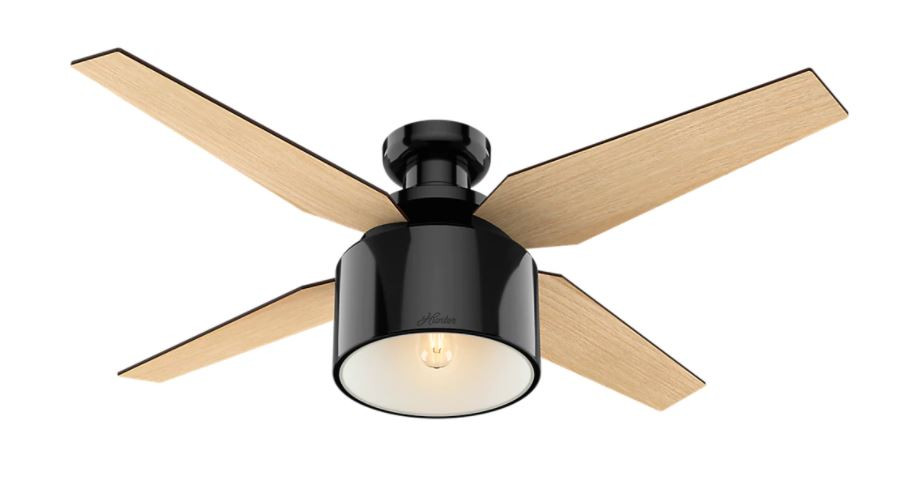 beautiful modern black and wood ceiling fan from Overstock