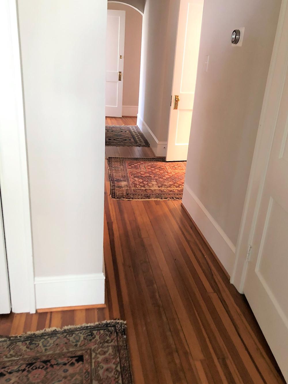 vintage rugs in hallway