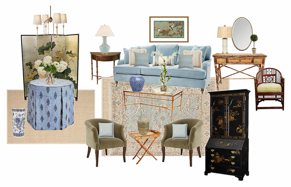 design for a chinoserie inspired collected living room