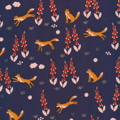 adorable fox fabric for boy's bedroom