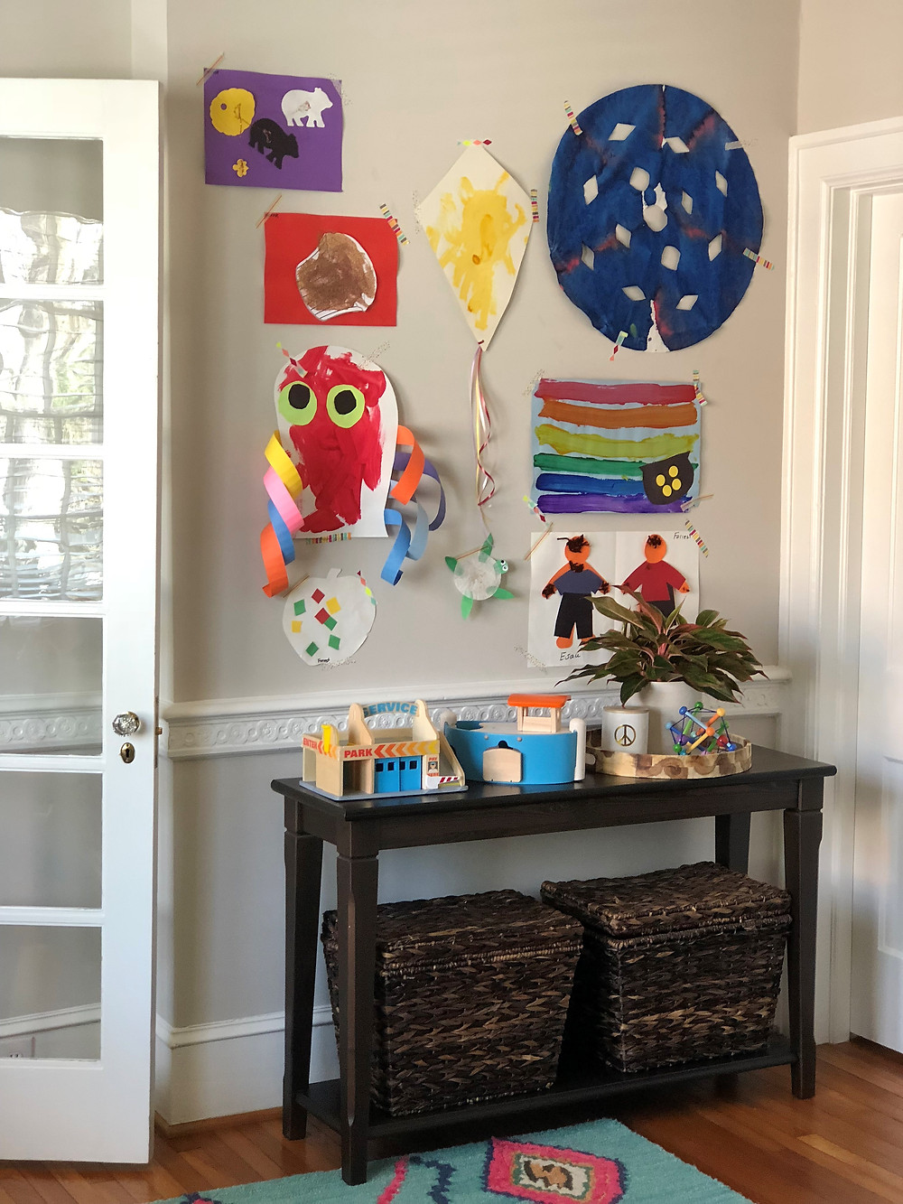 tip for displaying kids art in playroom using washi tape