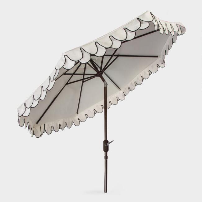 black and white scalloped patio umbrella