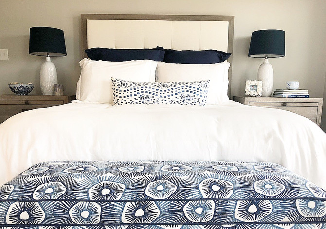 Design Reveal: A White and Navy Beach House Master Bedroom