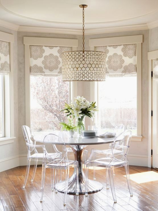 fabric shades to cover a bay window