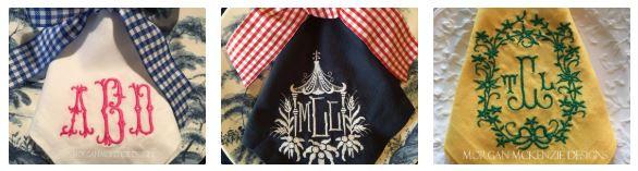 modern monogrammed napkins set of six by Morgan McKenzie Designs