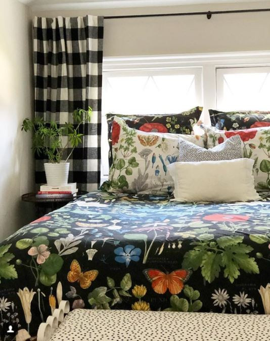 bold pattern mix in guest bedroom