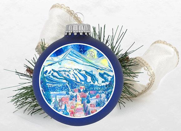 Good Night Mountains Royal Blue Ornament