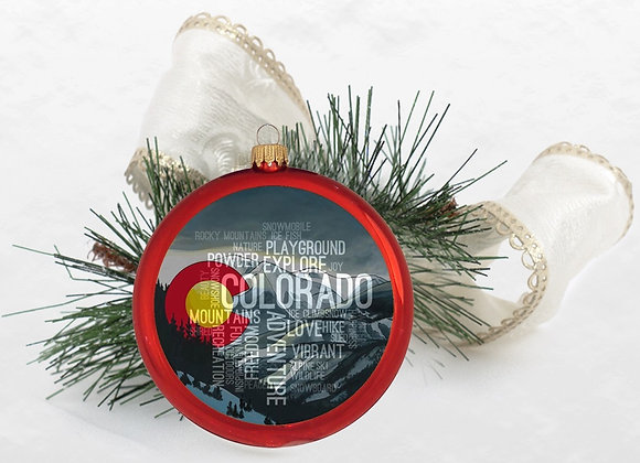 Colorado Winter Word Cloud Red Ornaments