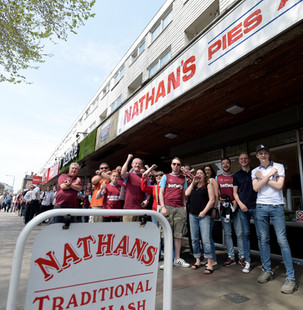 West Ham Fans Queue Up For Pie & Mash At Nathan's in May, 2016