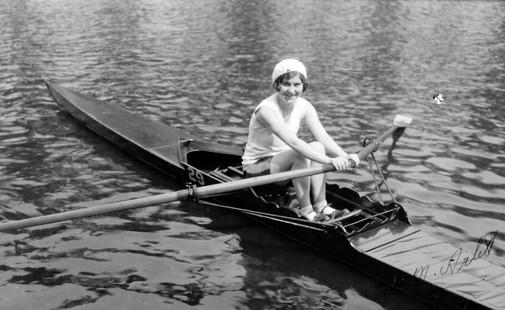 Rowing in Barking Park, c.1958.