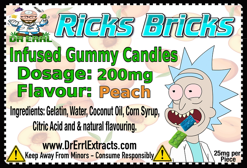Peach Rick's Bricks Gummies