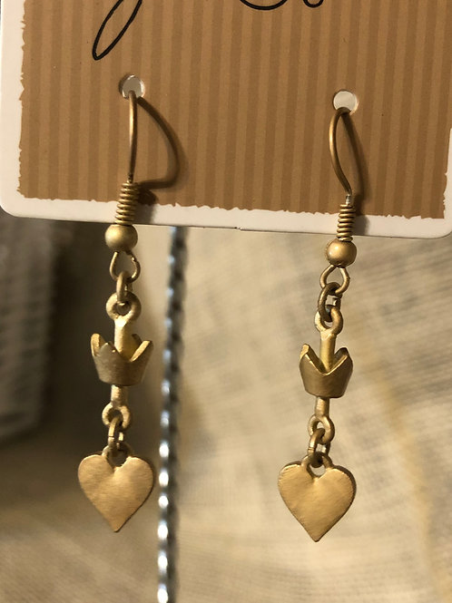 Crown and Heart Dangle earrings-Gold