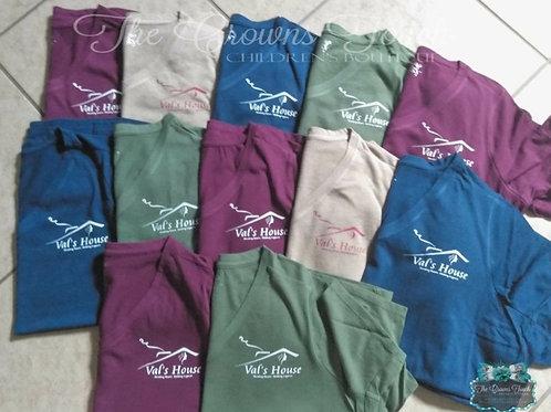 Blue VAL's Logo V-neck T-shirts