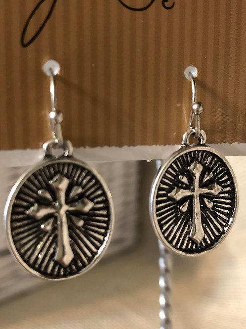 Cross oval earrings