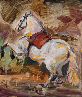 After A White Horse by Velasquez, 리넨에 유채
