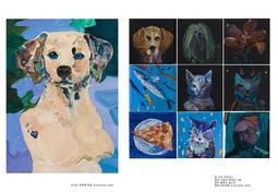 퀸, 도사, 아이리스 생선, 냐옹이, 히어로 냐옹 핏자, 블루냥, 힙스터  캔버스에 유채, 각 10×10cm, 2019