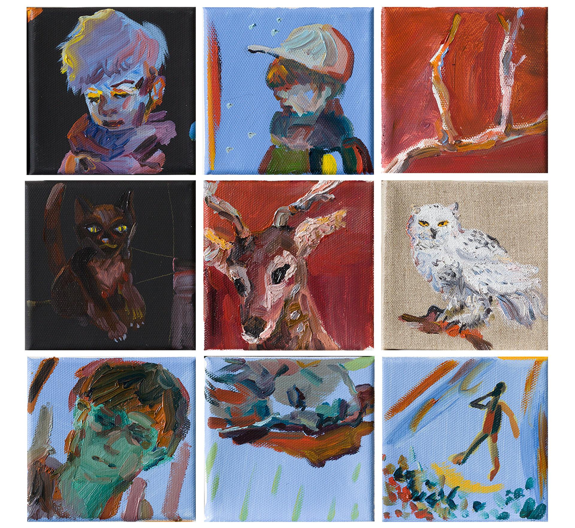 목도리, 꼬마, 뿔, 밤고양이, 사슴, 부엉이 신 헤라클레스, 그림자, 콘서트, 2018, 10x10cm