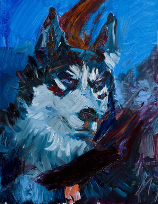 늑대개, Oil on Linen 리넨에 유채, 40.9×31.8cm, 2019
