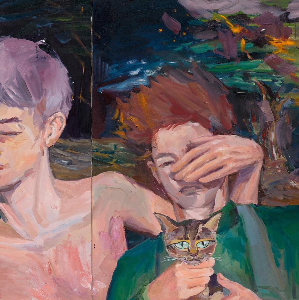 19월의 밤, 181.8 x 72.7cm (90.9 x 72.7cm 30호 두 개), 캔버스에 유채 / Oil on Canvas, 2018
