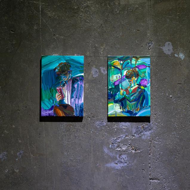 17. (오른쪽그림) 빗속의 밤, 캔버스에 유채, 22.7x15.8cm,