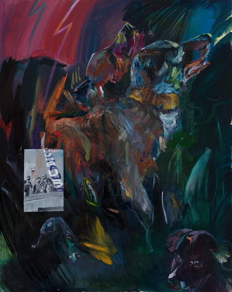 밤과 신화와 개들, 리넨에 유채, 90.9×72.7cm, 2019.jpg