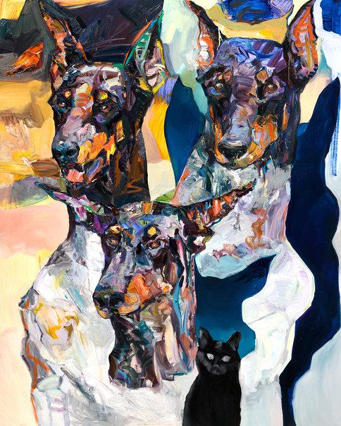 케르베로스 조각상과 어둠 고양이, 162.2x130.3cm, 리넨에 유채, 2019