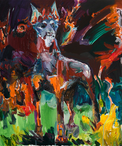 불꽃 월계관을 쓴 개 조각상, 캔버스에 유채 72.7×60.6cm, 2019