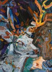 뿔과 조각사슴, 리넨에 유채, 33.4×24.2cm, 2019