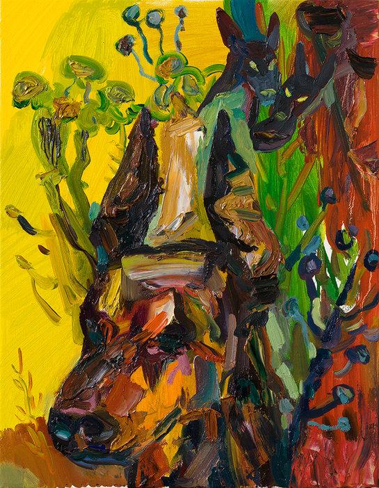 노란 개들, 캔버스에 유채, 40.9×31.8cm, 2019