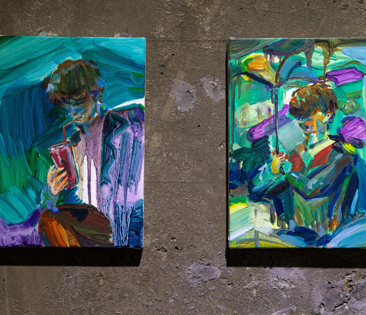 16. (왼쪽그림) 밤에 마시는 수박주스, 캔버스에 유채, 22.7×15