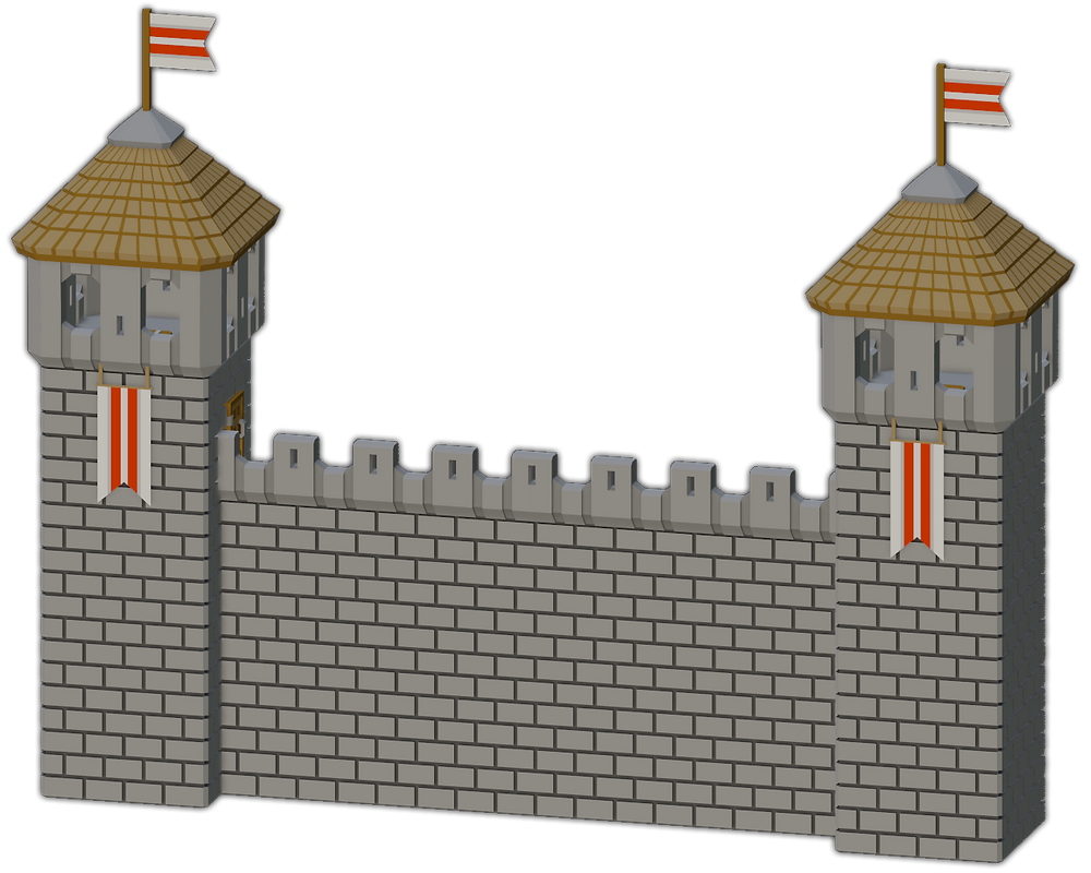 3D printable Medival Walls with Guard Towers by War Scenery