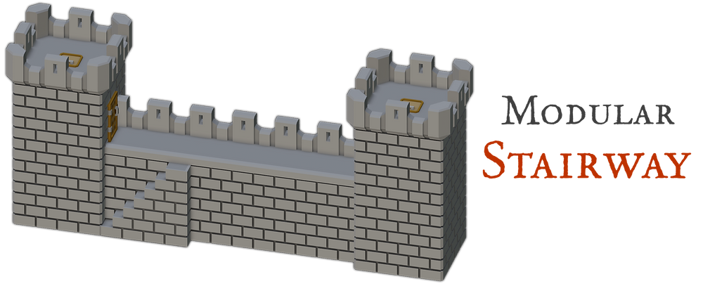 3D printable Medival Modular Stairway Piece  by War Scenery