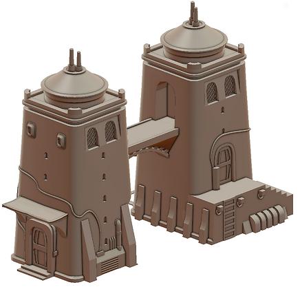 Desert Twin Tower War Scenery
