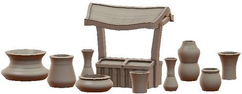 Marketstand and Vases Set War Scenery