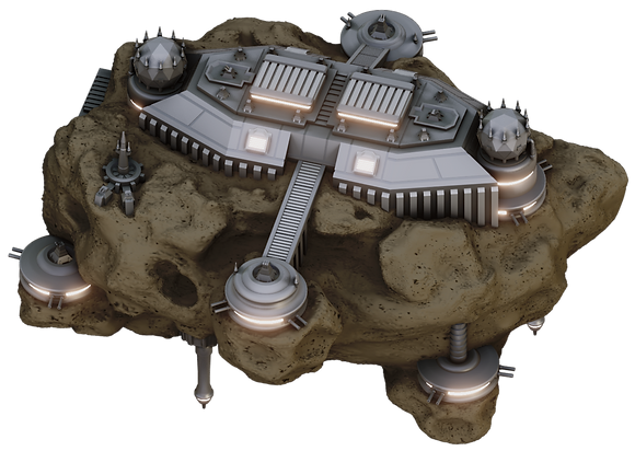 3D printable Asteroid Space Station byWar Scenery