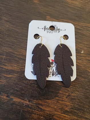 Hand cut leather feather earrings