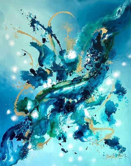 """Glowing Aqua Bliss 16 x 20"""""""
