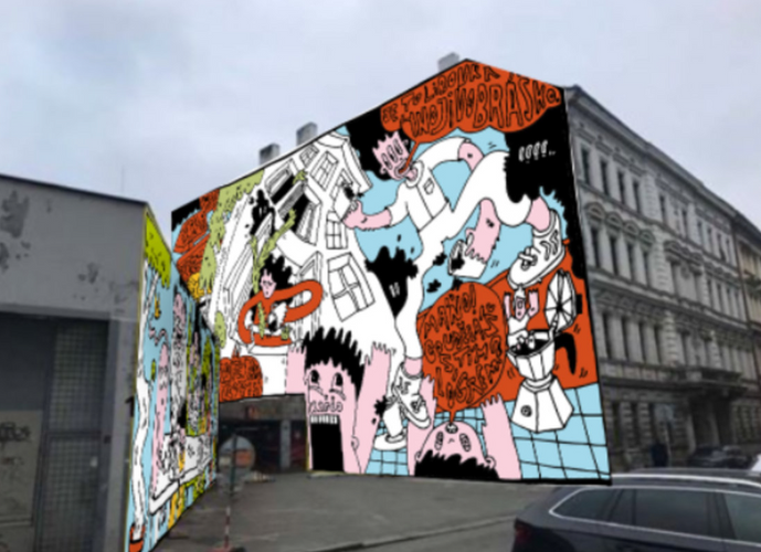 Contest, Caffe recycling mural