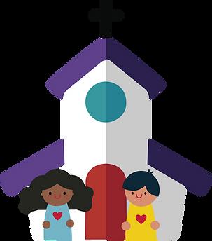 Igreja com crianças na frente