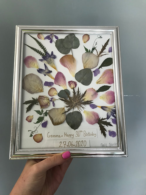 Bespoke Personalised Pressed Flower Picture