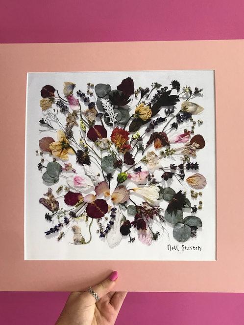 Signature Pressed Flower Print Mounted